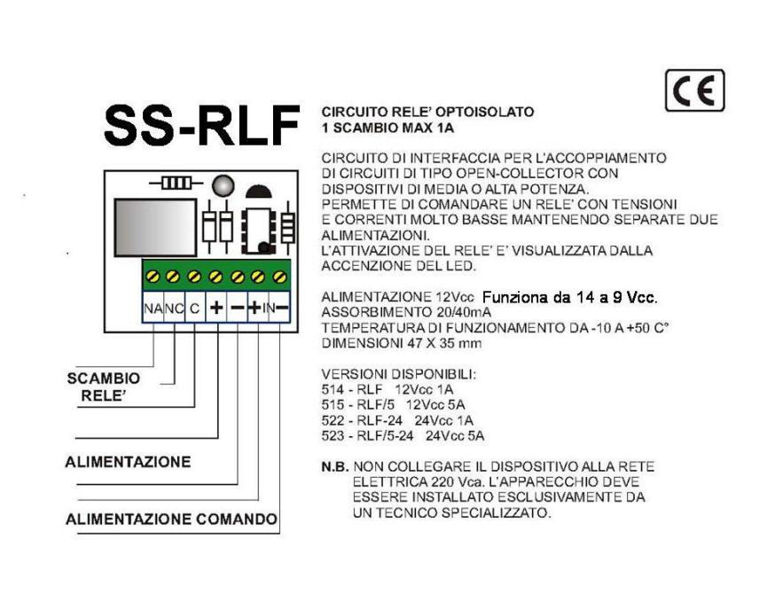 Schema del Relè Optoisolato 2 Scambi 8 A