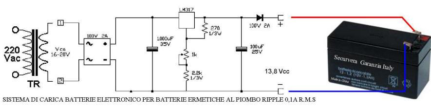 Sistema di Carica Batterie a Secco 13,8 V 2Ah sbeco