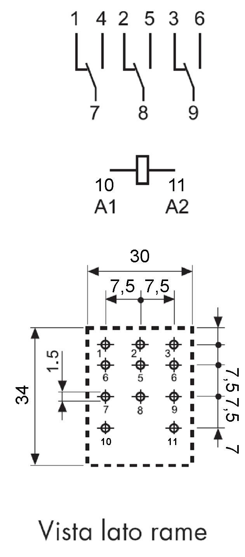 Schema Pratico del Relè 3 Scambi da 8 A