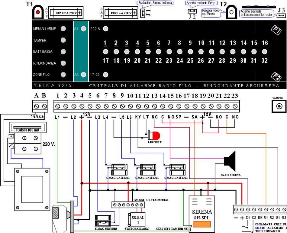Schema Collegamento Campanello 220v : Rosa kit antifurto radio fai da te allarme centrale trina