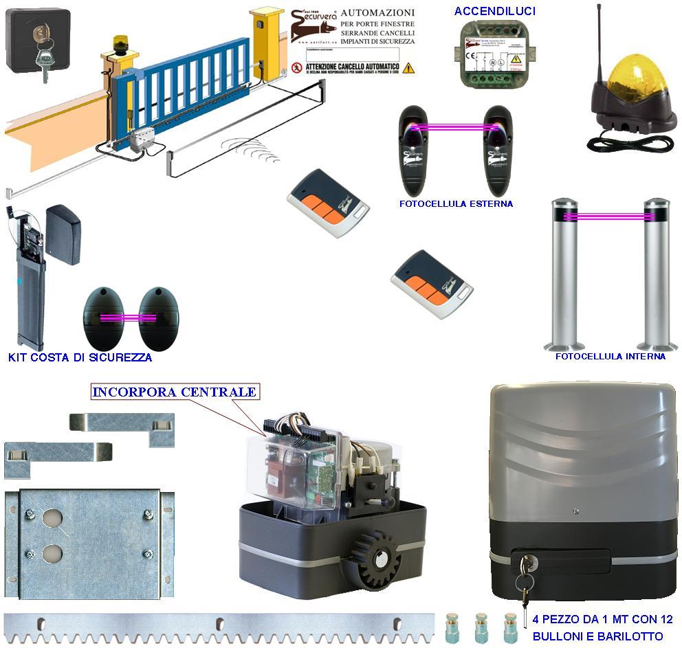 Kit Automatismo Cancello Scorrevole 8 Q.li Completo