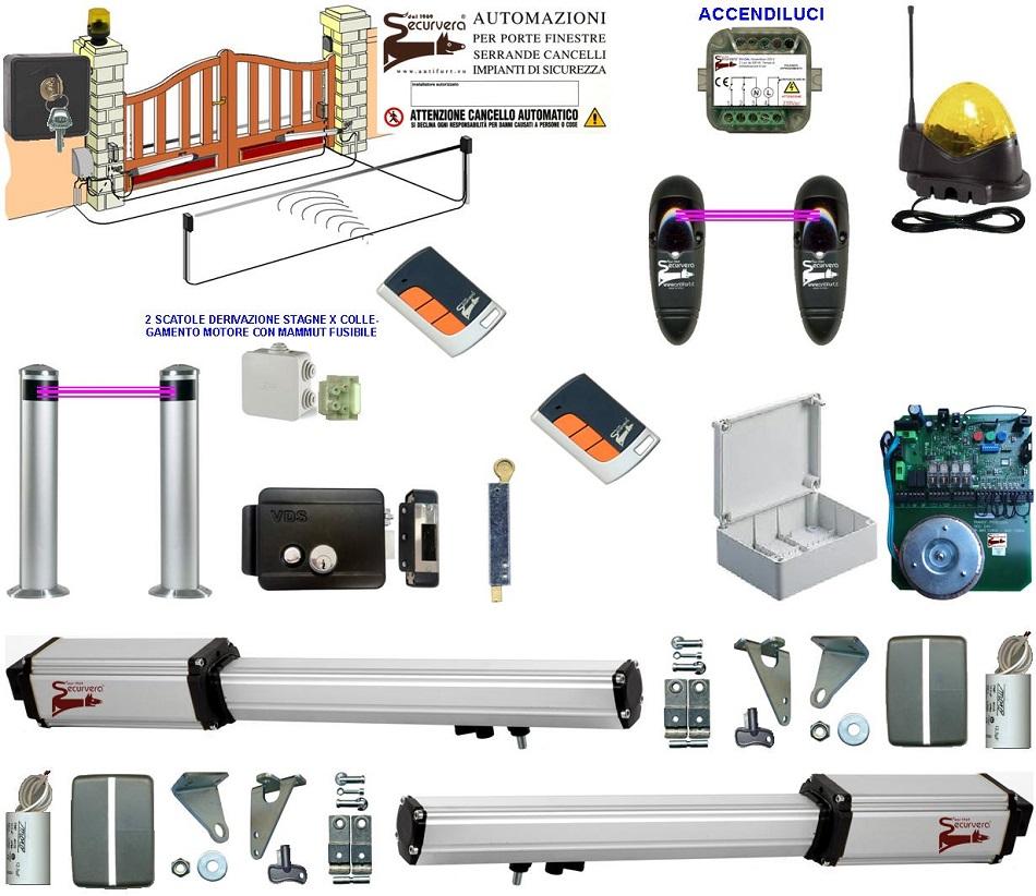 Kit Automatismo Completo a 24 Vcc per Cancello 2 Ante da 4 Metri